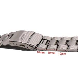 Image 3 - Rolamy 22mm כסף מוצק מעוקל סוף מוצק קישורים החלפת שעון Band רצועת צמיד כפול דחיפה עבור Seiko