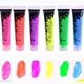 Conjunto de pintura acrílica 6/10 cores 75ml cor metálica brilho fluorescente para a roupa têxtil tecido pintura para desenho artes artesanato