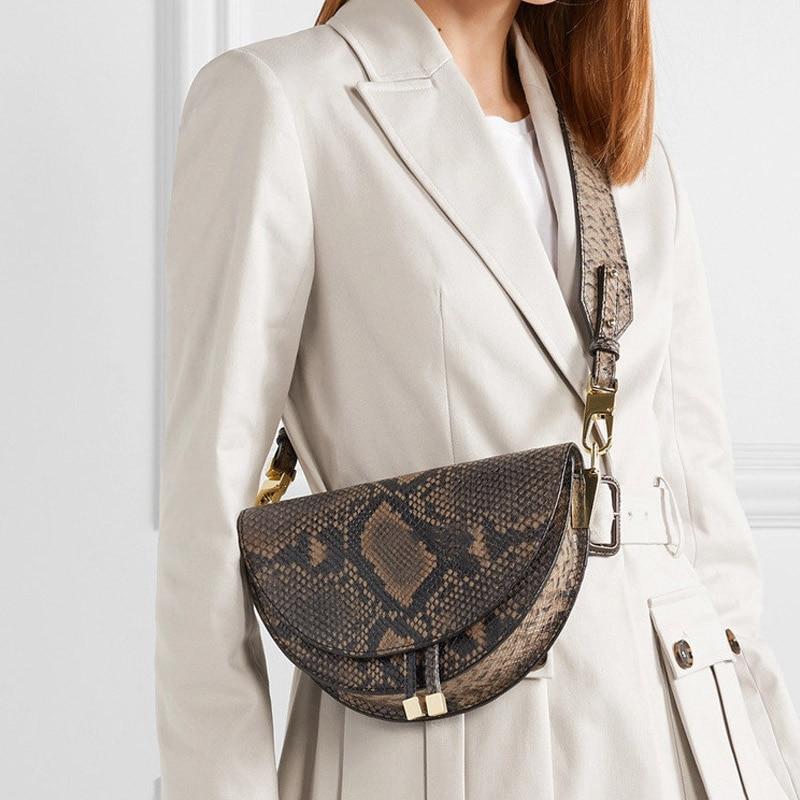 Fashion Snake Pattern Women Shoulder Bags Clothing Half Circle Coverd Pu Leather Ladies Messenger Bags Trendy Saddle Bag Handbag