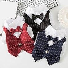 Neue Gentleman Hund Hochzeit Anzug Formalen Shirt Für Kleine Hunde Bowtie Hund Kleidung Smoking Pet Halloween Weihnachten Kostüm Für Katzen