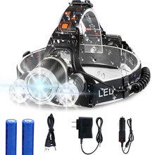3000лм перезаряжаемый Налобный фонарик 4 режима светодиодный