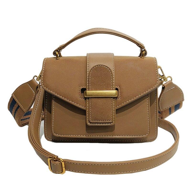 Women's Handbag The New Fashion Women's Bag Scrub Simple Wide Shoulder Strap Crossbody Bags Retro Messenger Shoulder Bags