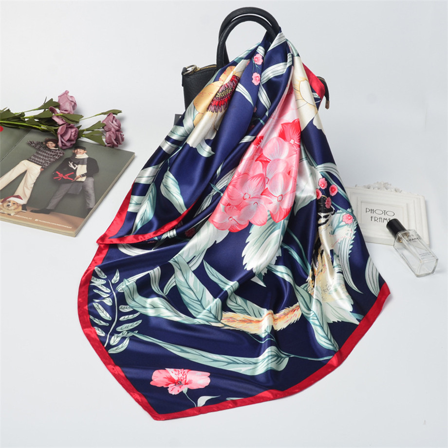 90cm New Design Flower Room Squirrel Winter Square Scarf Women Silk Scarf Female Bandana Fashion Kerchief Scarves For Ladies