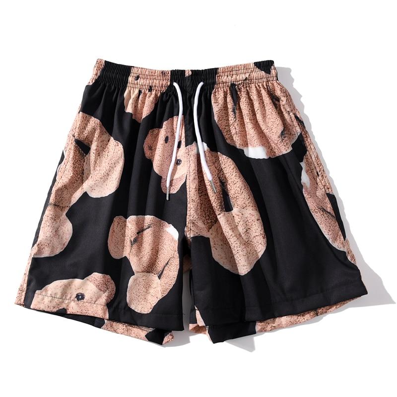 Summer Beach Shorts Bear Full Printed Unisex Men Hip Hop Streetwear Hawaiian Elastic Waist Women Casual Fashion Shorts Pants
