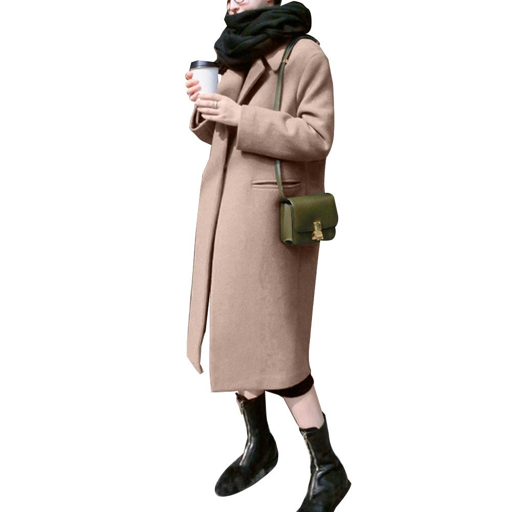 Women Winter Solid Color Lapel Collar Thicken Slim Long Trench Coat Warm Mid-length Thick Windbreaker Coat