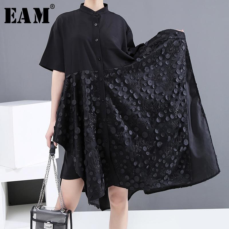 [EAM] Women Black Patch Split Irregular Big Size Shirt Dress New Lapel Half Sleeve Loose Fit Fashion Spring Summer 2020 1U157