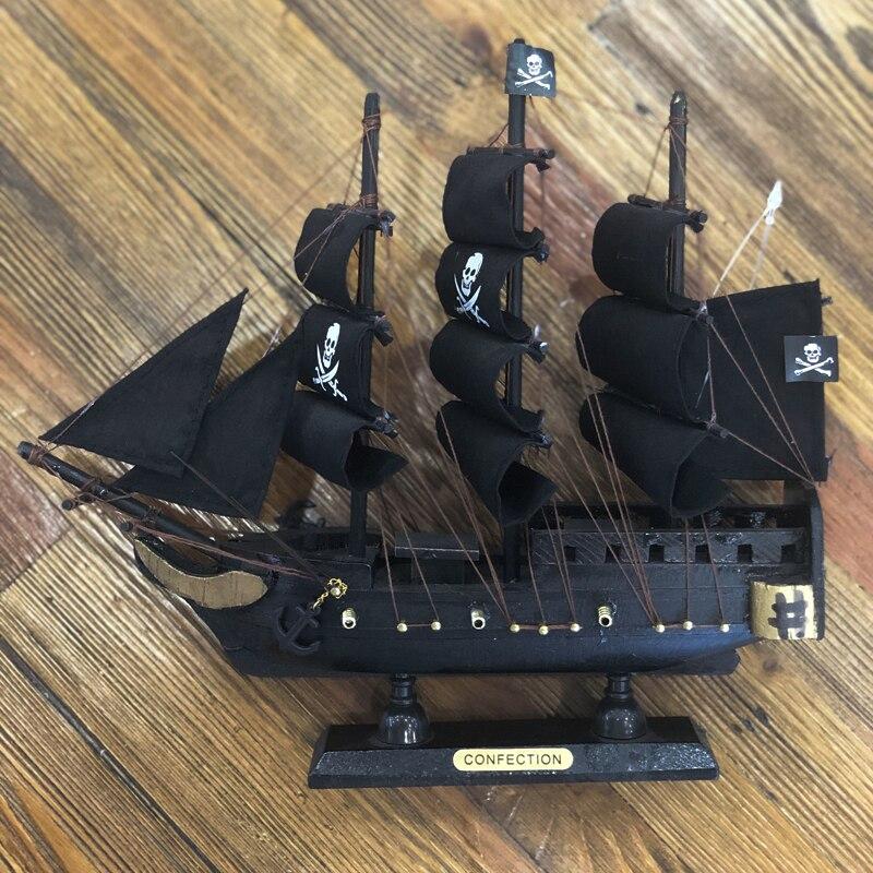 Luckk miniatura barco de madeira modelo veleiro crianças presente caribe preto pérola corsair barcos vela decoração para casa artesanato SH775-24