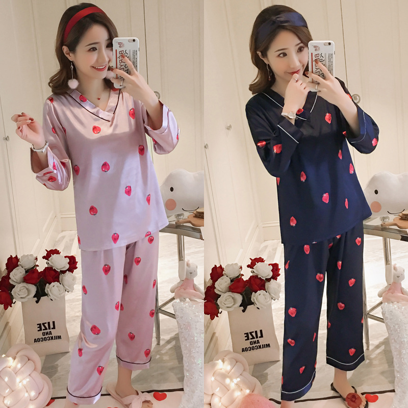 033 # Pajamas Women's Spring And Autumn Thin Long-sleeve Suit Korean-style Sweet Silk-Outer Wear Tracksuit Two-Piece Set