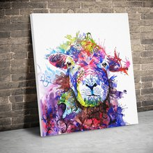 Framed Colored Sheep Hand Painted Animals Art Canvas Paintings Wall Art Canvas Prints Pictures Kids Room Decor Wood Inner Frame(China)