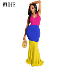 WUHE New Arrival Fashion Patchwork Bodycon Bandage Floor-length Dress Sexy Hollow Out Sleeveless Halter Summer Party Wear