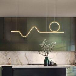 Nordic Gold Led Hanglamp Modern Design Voor Living Eetkamer Slaapkamer Keuken Lijn Glans Opknoping Lamp Thuis Wedstrijden