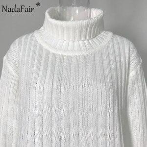 Image 5 - Nadafair 화이트 스웨터 드레스 2020 크리스마스 솔리드 긴 소매 미니 캐주얼 느슨한 터틀넥 니트 겨울 드레스 여성 Vestidos