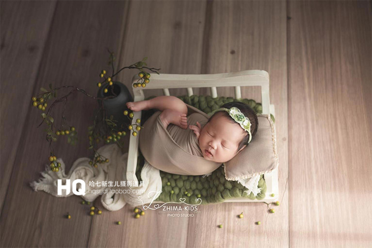 New Newborn Photography Props Bed Baby Photography Frame Studio Baby Full Moon Photo Props Sofa Small Wooden Bed Kids Toys