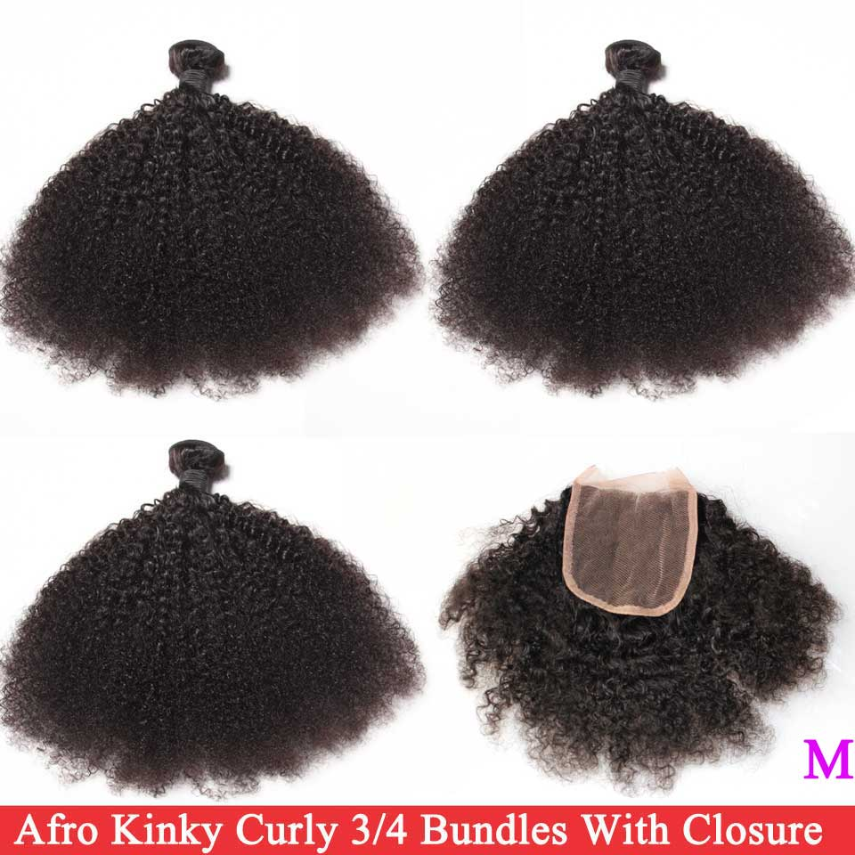 Tight Afro Kinky Curly Bundles With Closure Brazilian Hair Weave 3/4 Bundles With Closure Remy Human Hair Bundles With Closure