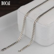 100% S925 real silver vintage 3MM Thai silver necklace for men silver jewelry tank chain flat ring men and women silver necklace(China)