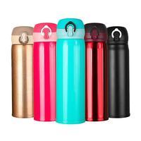 500ml 진공 사이클링 물병 바운스 커버 절연 컵 야외 스테인레스 스틸 절연 워터 컵 6-12 시간