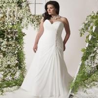 Plus Size Wedding Dresses Sweetheart Sleeveless Pearls Pleats Chiffon Beach Boho Wedding Dress Robe De Mariage