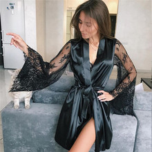 Сексуальный Атласный ночной халат большого размера, кружевной халат, идеально подходит для свадьбы, невесты, подружки невесты, халаты для женщин, Ночная одежда