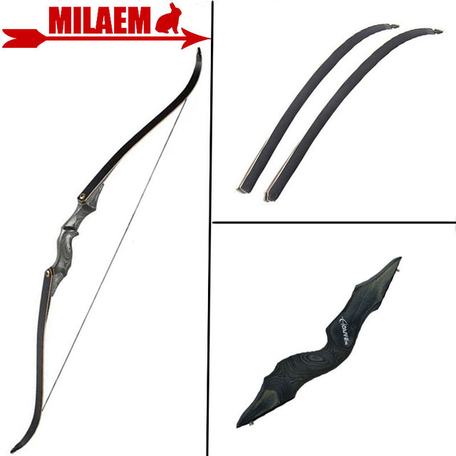 60inch 30-60lbs Archery Recurve Bow Black Hunter Bow Lamination Bow Limbs Right /Left Hand Outdoor Sports Hunting Accessories 1