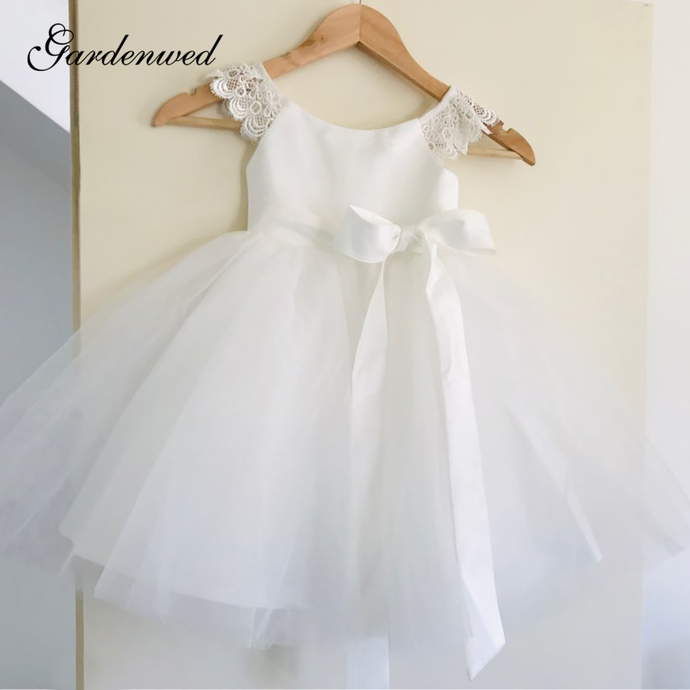New Ivory Flower Girl Dresses Puffy Bow Sash Tulle First Communion Dresses O-Neck Lace Cap Sleeves Girl Wedding Party Dresses