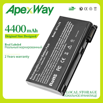 Apexway 4400mAh 6 CELL BTY-L74 New Laptop Battery For MSI L74 L75 A5000 A6000 CX500 CX500DX CX705X CX623 EX460 EX610 CX700 CX620 4400mah new laptop battery for nec pc vp bp18 op 570 75201 versa s260