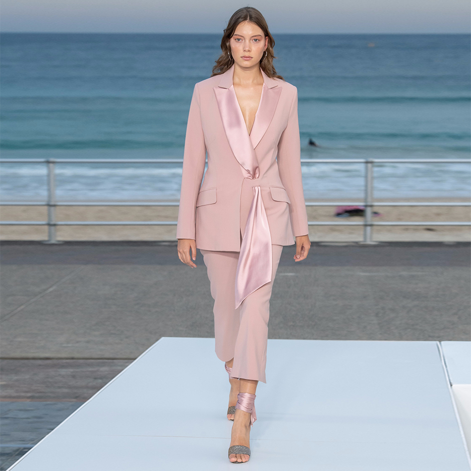 ADYCE 2019 New Autumn Pink Long Sleeve Celebrity Evening Runway Party 2 Two Pieces Set Sexy V Neck Coat & Long Pants Club Sets