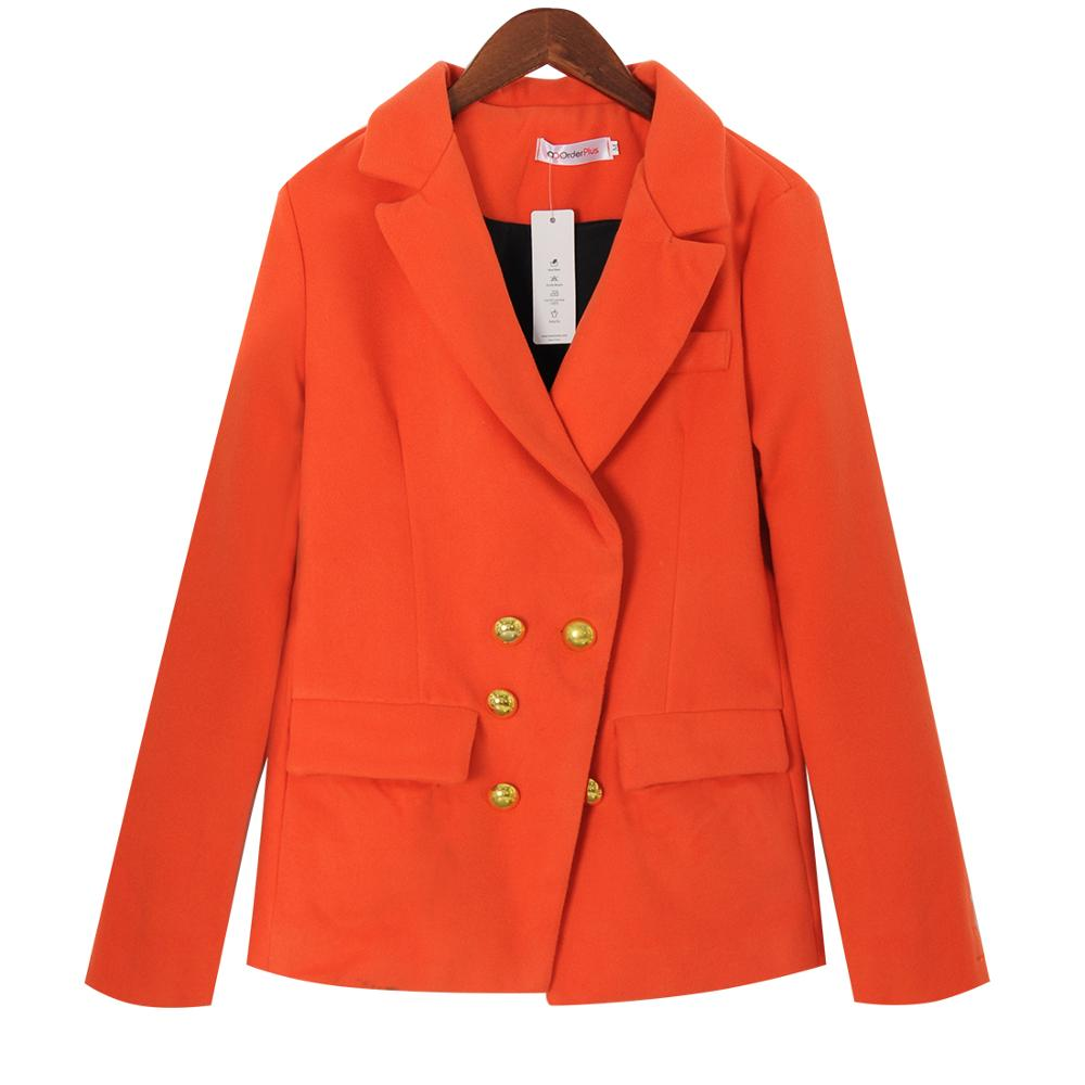 Autumn Winter Women Suit Jacket Fashion Solid Color Casual Office Long Sleeve Coat Jacket Double Breasted Blazer Female Chic