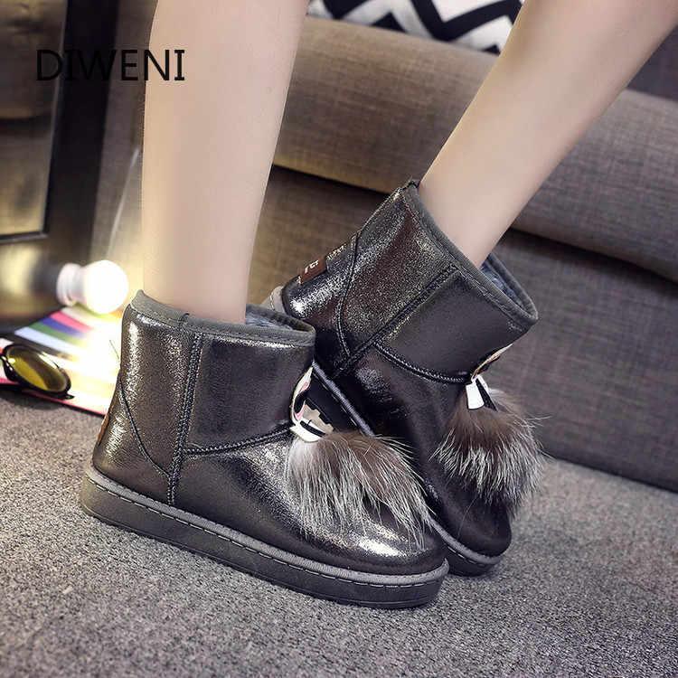 2019 kış çizmeler kadın ayakkabıları kadın zapatos mujer botas avustralya ayakkabı kadın botları yağmur kar yarım çizmeler deri kürk buty N265