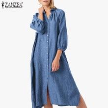 ZANZEA женская джинсовая рубашка платья 2021 осень свободные средней длины в стиле Бондо, Повседневное платье, длинные однотонные свободные жен...