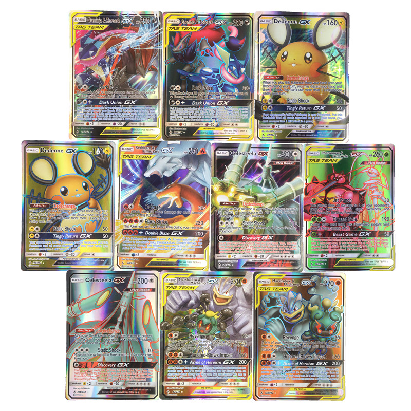 2019 Best Selling Shining   Pokemones  Cards Game Battle Carte 25 50 100pcs Trading Cards Game Kids Toys