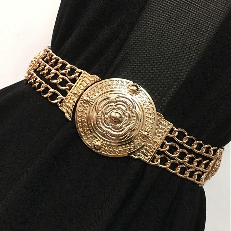 2019 kobiet kwiat złote pasy moda damska kwiatowy elastyczny Metal kobiety pas biodrowy do sukni kobiet złoty łańcuszek do spodni 156