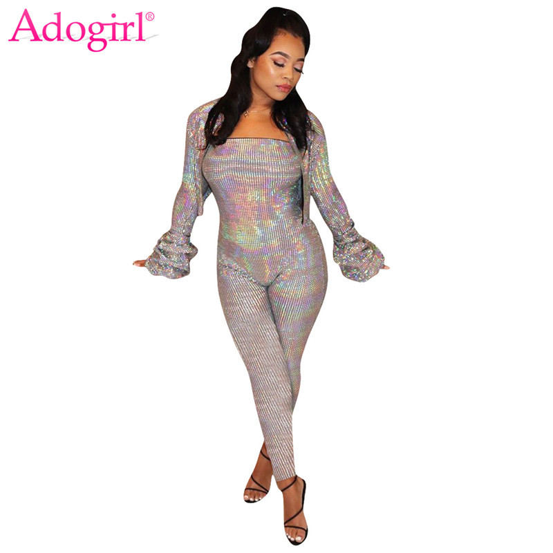 Adogirl Gilding Sequins Fashion Two Piece Set Zipper Ruched Long Sleeve Short Jacket Coat Strapless Skinny Jumpsuit Casual Suit