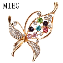 MIEG Brand Crystal Butterfly Brooch For Women Colorful Rhinestones Animal Style Pins Jewelry Accessories