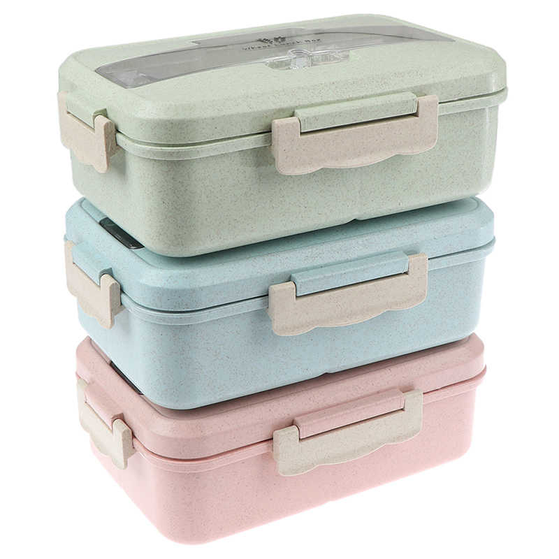 Caja de almuerzo contenedor de comida Bento caja de almuerzo calentada niños lonchera de paja de trigo coreano sellada caja de plástico para estudiantes para comida