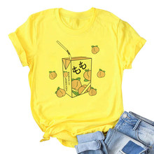 Cartoon Perzik Sap Japanses Esthetische Grunge Vrouw T-shirts Harajuku Leuke Kawaii Geel Zomer Casual Tumblr Outfit Fashion Tops(China)