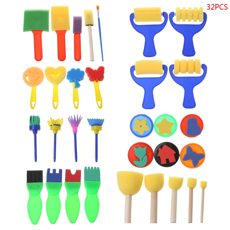 32PCS/SET Washable Sponge Painting Brushes Set Tool For Kids Children Toddler Early Education Toys Art Supplies Gifts