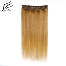 Jeedou 24-дюймовые длинные прямые удлинители волос с зажимом, розовые, коричневые, синие, Омбре, искусственные синтетические женские шиньоны