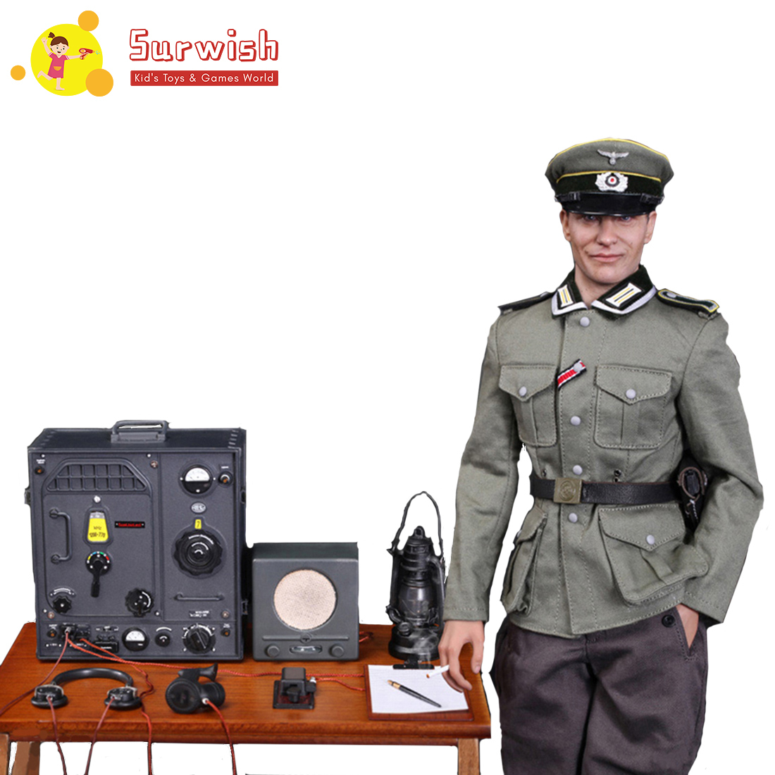 Free Shipping 1/6 Scale Soldier Action Figure Suit Movable Headsculpt German Communications Center Radio Soldier Corporal