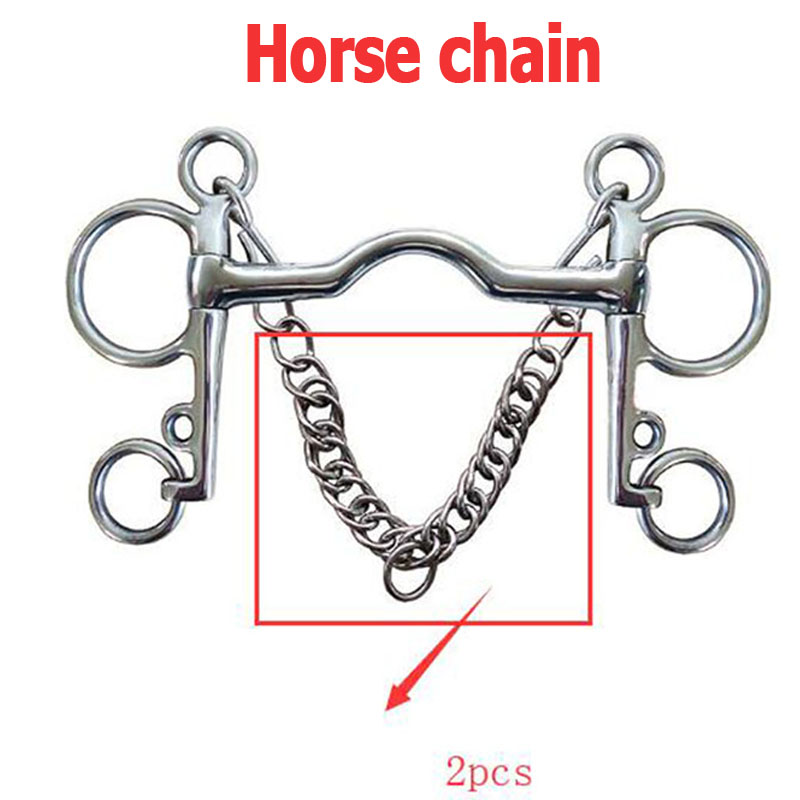 2pc Stainless Steel Double Curb Chain Link Horse Bits Bridle 240mm Horse Bit Chain Riding Equestrian Accessories Horse Equipment