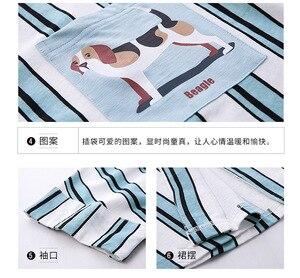 Image 2 - Sleepshirts Plus Size Vestito Da Notte Delle Donne 100% Cotone Della Biancheria Degli Indumenti Da Notte A Righe Risvolto Cardigan del Bicchierino di Estate Notte Vestaglia