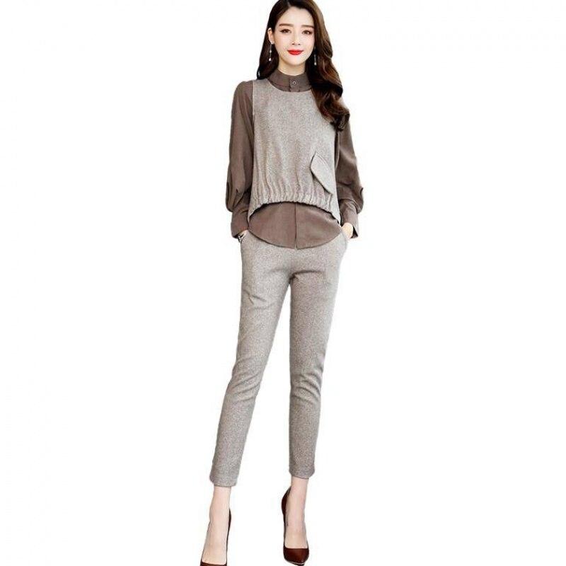 2019 Autumn Office 3 Piece Sets Outfits Women Plus Size Shirt+vest+pants Suits Elegant Korean Casual Women's Sets Femme 2019 42