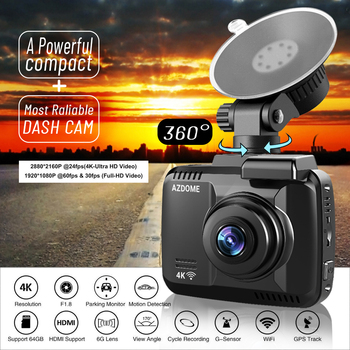 AZDOME GS63H Car Dash Cam 4K 2160P Dash Camera Dual Lens Built in GPS DVR Recorder Dashcam With WiFi G-Sensor Loop Recording