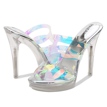 MAIERNISI 2020 Summer New 12 cm Sexy High Heels Fashion Color Changing Film Women's Sandals PVC Etiquette Car Model High Heels image