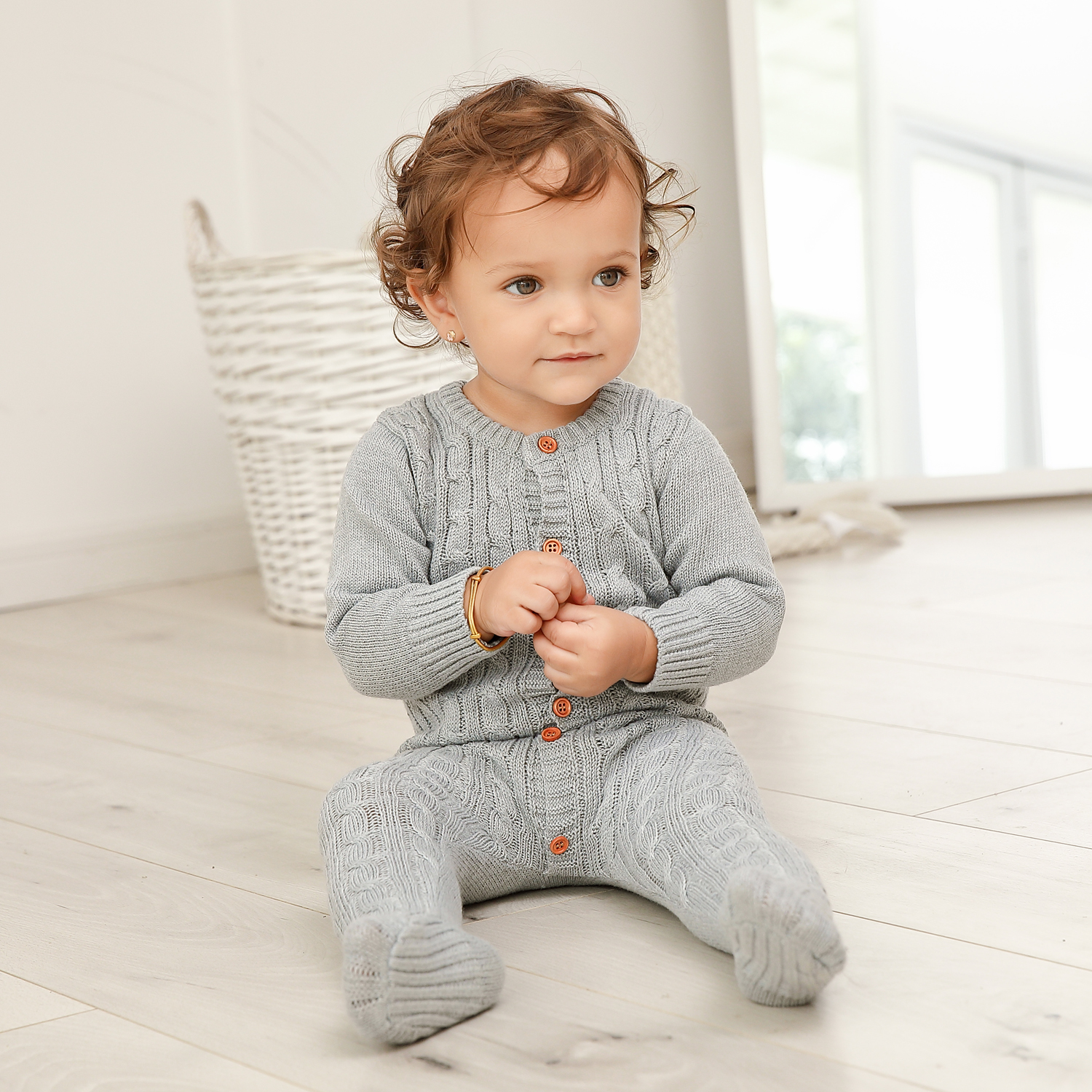 Autumn Baby Girl Pajamas Jumpsuits Fashion Solid Grey Knitted Newborns Boys Rompers Button Up Toddler Overalls One Piece Clothes