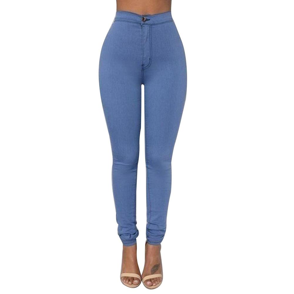 Leggings Thin Section High Waist Stretch Pencil Pants Tight Candy Jeans женские джинсы Plus Size Women Ripped Jeans For Women