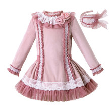 Pettigirl Pink Girl Dresses Handmade Flower Tulle Velvet Long Sleeve Wedding dresses Kids Baby Clothing With Hair Accessories