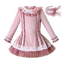 Pettigirl ピンクガールのドレスハンドメイドフラワーチュールベルベット長袖ウェディングドレスキッズベビー服アクセサリー