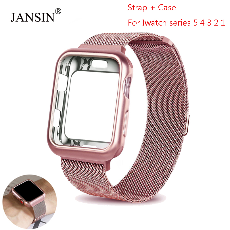 Case + Milanese Loop Band For Apple Watch 44mm 40mm 38mm 42mm Bracelet Stainless Steel Strap For Iwatch Series 5/4/3/2/1 Cover