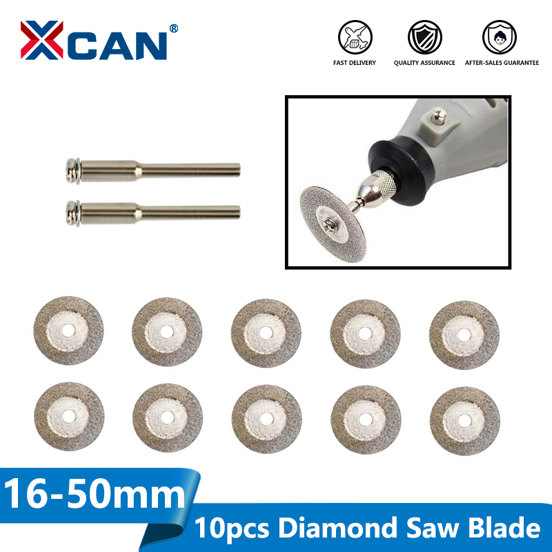 XCAN 10pcs 16-60mm Diamond Saw Blade Mini Diamond Grinding Wheel Circular Saw Blade For Cutting Jade Rotary Tool Mini Saw Blade