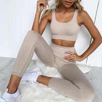 2 peça roupa de fitness & yoga roupas treino atlético vestuário ginásio esportes wear canelados sem costura leggings e sutiã conjunto